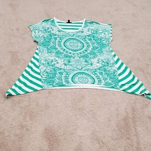 Stripe and floral scoopneck trapeze top